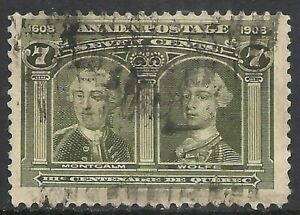 CANADA SCOTT 100 USED F/VF - 1908 7c OLIVE GREEN ISSUE   CAT $100.00