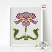 Art Nouveau Iris Flower borders - Embroidery Cross stitch PDF Pattern - 109