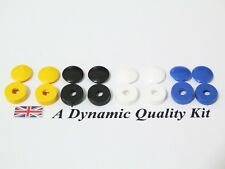 8 x Car Reg Number Plate Screw Cap Hinged Covers 2 x White Yellow Black Blue