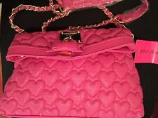 Betsey Johnson Always Be Mine Pink Cross Body Bag Heart Stitching