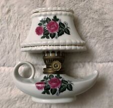 "Trimont Ware Japan Mini Oil Lamp 5-1/2"" tall X 5-1/4"" long, brass & roses"