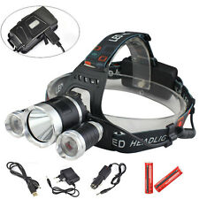 9000Lm 3x XM-T6 LED Rechargeable Headlamp HeadLight Torch USB Lamp+18650+Charger