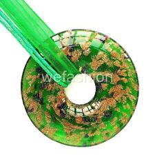 Circle Gold Green Handmade Lampwork Murano Glass Bead Pendant Ribbon Necklace