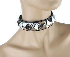 "Silver Cyber Goth Studded Choker 1"" Large Pyramid Premium USA Leather Punk Goth"