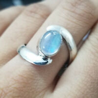 Natural Fire Rainbow Moonstone Gemstone 925 Sterling Silver Handmade Gift Ring