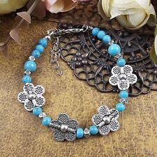 Vintage Tibetan Silver Flower beads bangles Bohemian Jade Turquoise bracelets