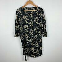 Zara Womens Dress Small Black Beige Leopard Print 3/4 Sleeve Round Neck Oversize