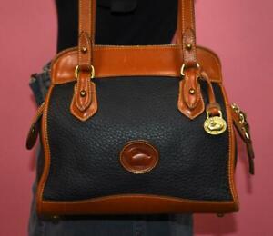 """VTG DOONEY & BOURKE  AWL BLUE ZIP TOP Leather """"Carpet"""" Shoulder Bag Purse USA"""