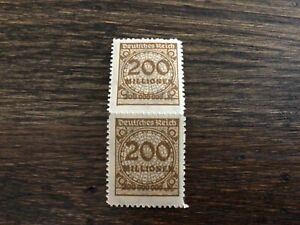 Stamps MNH 1923 Germany Scotts #291a Brown Stamp 200 Milllion Inflation PAIR
