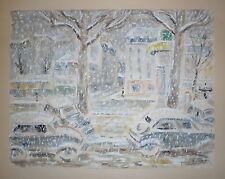 Paul Loiseau encre gouache et aquarelle signée 1959 Neuilly place du marché