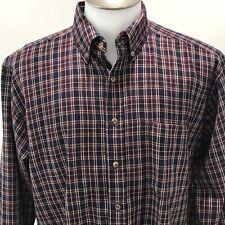 Sir Pendleton Mens Large Long Sleeve Wool Plaid Navy Blue Red Button Down Shirt