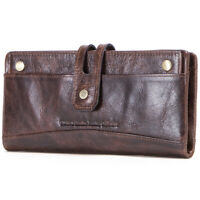 Women Genuine Leather Clutch Long Wallet Bifold Removable ID Card Holder Purse