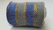 """4"""" Blue and Silver Deco Mesh Ribbon"""