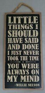 "Always On My Mind Willie Nelson Music Bar Sign Wall Art Decor 10""x5"""