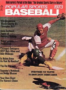 1973 Popular Sports Baseball magazine,Johnny Bench,Cincinnati Reds~Hank Aaron~Fr
