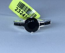 Size 7 Thai Black Spinel Ring Sterling Silver TGW 2.65 carats