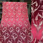 VTG+1930-40%E2%80%99+Art+Deco+Brocade+Drapery+Fabric.+Maroon+w%2FWhite+Florial+Print.42x84