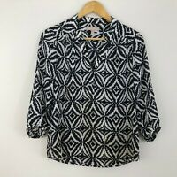 Banana Republic Womens Top Size S Small 8 10 Black White Blouse Shirt