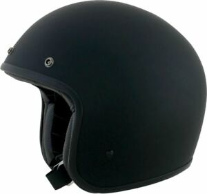 AFX FX-76 Flat Black Open Face Low Profile Motorcycle Helmet Retro Vintage