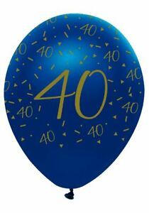 6 Navy & Gold Geode Age 40/40th  Birthday Party Latex Balloons
