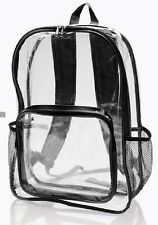 Clear Backpack Unisex Travel Bag Transparent  Security  Front/Sides Zipper Bags