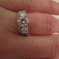 Diamond Engagement Band Set Ring Round Cut 14K White Gold 1.90 Ct Size 6 7 8 9