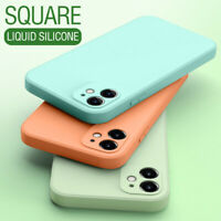 For iPhone 11 Pro Max XS XR 8 SE 2 Square Liquid Silicone Solid Color Case Cover