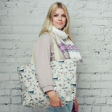 Maxi Large Oversize Canvas Bird Twig Print Shopper Tote Beach Bag