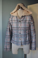 Oneill M medium plaid snowboard winter coat zip off sleeves vest hood fur