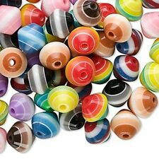 100 Assorted 8mm Striped Laminated Acrylic Plastic Bicone Beads In Mixed Colors