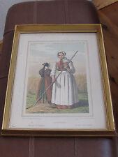 Peasant from Zeeland  En Hedebopige  F C Lund Lithograph DENMARK  Framed
