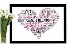 Best Friends Christmas Gift Heart Word Art Print Birthday Thank You Personalised
