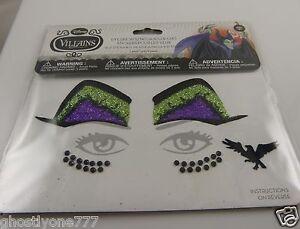 Face tattoos body art skin Maleficent eyes glitter evil queen Halloween Disney
