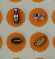 Crocs Jibbitz Charms 3D Football Hot Sauce Hot Dog USA Flag   *ALL 4 for $11.99!