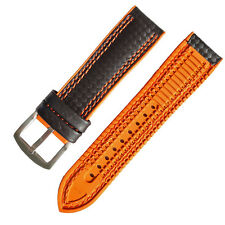 18mm 20mm 22mm 24mm Black Carbon Firber Watch Strap Watch Band Orange Rubber Pad