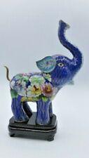 Vintage Cloisonné Elephant Chinese Enamel on Brass & Base Trunk Up Good Luck