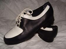 "NICE DIONE BLACK & WHITE LEATHER OXFORDS MADE IN BRAZIL~ 7W~1"" HEEL~FREE US SHIP"