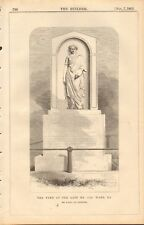 1863 ANTIQUE ARCHITECTURE, DESIGN PRINT- TOMB OF MRS JAS WARD, RA, KENSAL GREEN