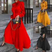 ❤️ Womens Long Sleeve Bow-Tie Long Maxi Dress Ladies Evening Party Cocktail Gown