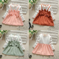 Mignon bambin Kid Baby Girl Long manches Bow Patchwork partie princesse robe