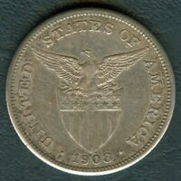 1908-S US Philippines 1 Peso United States of America Silver Coin - Stock #F19