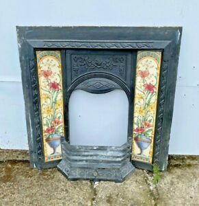 CAST IRON FIRE SURROUND / VINTAGE / YELLOW / RED FLORAL TILES /