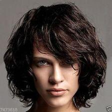 100% Real Hair!Stylish Black Brown Bouffant Curly Short Women's Wig Human Hair