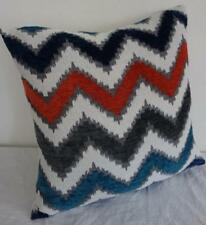 Turquoise, Grey, Deep Blue, Rust Red Velour & Jacquard Cushion Cover 45cmn