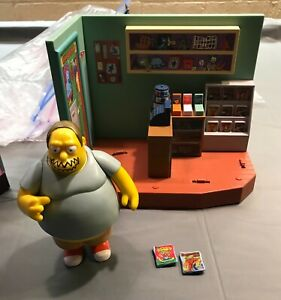 Playmates Simpsons Springfield WOS Comic book Guy & playset. Homer friend