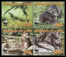 Ivory Coast WWF Speckle-throated Otter 4v in block 2*2 reprint MNH MI#1353-1356A