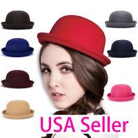 USA Magik Men Women Woolen Roll-up Brim Fedora Bowler Hat