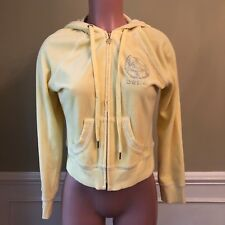 BEBE Womens Hoodie Jacket Terry Cloth Yellow Rhinestone Bling Size L
