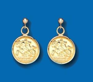 9ct Yellow Gold Coin Drop Earrings