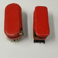Vintage German Multi Brush with Manicure Set Red Leather Lot 2